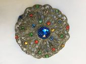 Bohemian Filigree Antique Jewelled Brooch circa 1920s